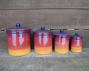 Italian Winery - One of a Kind Set of 4 Ombre Ceramic Canister Set with Rubber Seals - Gold, Purple, Maroon