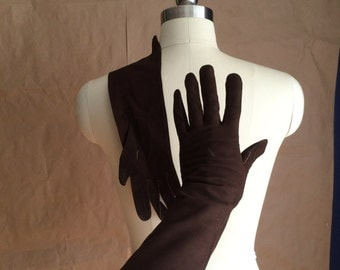 CYBER SALE / vintage 1960's  60's midi length gloves / chocolate brown / womens size 7 / mod retro chic