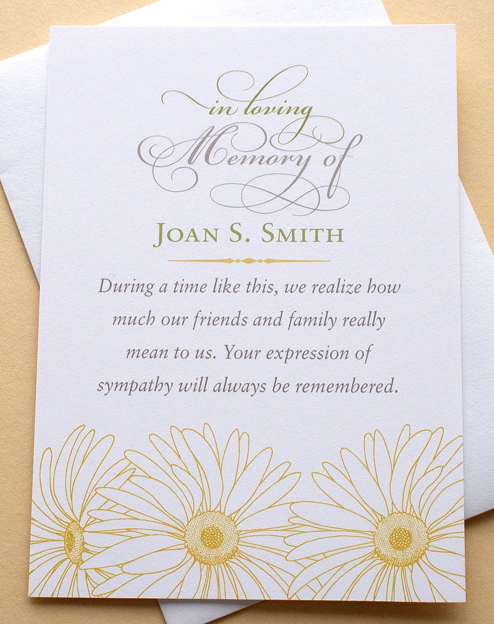sympathy thank you cards with yellow daisies custom flat