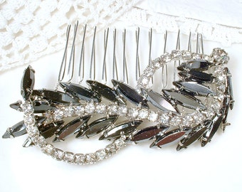 OOAK Black & Clear Rhinestone Bridal Hair Comb, Vintage Charcoal Gray Leaf Feather Brooch to Bridal Hairpiece Wedding Headpiece Gothic 1950s