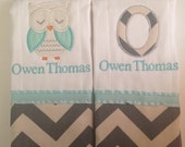 set of 2 personalized monogrammed burp cloths mint and gray chevron owl