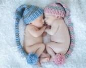 Elf Hat, Newborn Long Tailed Hat, Newborn Photo Prop, Newborn Elf Hat, Striped Long Tailed Hat, Newborn Photo Prop, Crochet Elf Hat