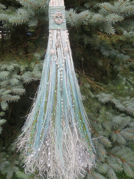 aqua and turquois blue wedding broom pagan wedding wiccan