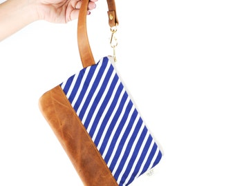 Madison Street Wristlet in Navy Stripe