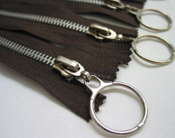 2 pcs, 7' inch Silver Ring Metal Zippers - Brown or Red