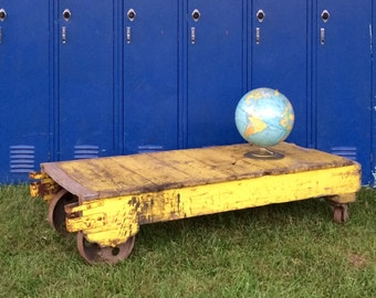 Industrial Cart - coffee table - warehouse cart - rustic yellow cart