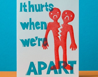 It Hurts When We're Apart Card