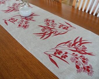 Linen Table Runner Hand Screen Printed Red&Natural Australian Eucalypt Gum Tree