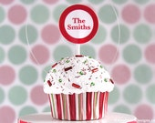 Family Name Christmas Stripe Cupcake Ornament #CUP219