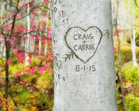 Personalized Carved Heart Tree, Couples Gift, Personalized Print, Unique Wedding Gift,  Engagement Gift,  Housewarming Gift