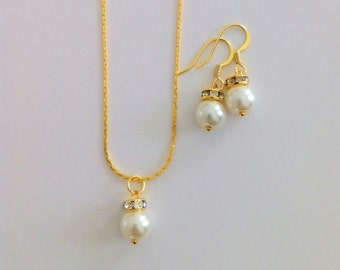4 Simple & Elegant Bridesmaid Necklace and Earrings Gift Pearl Jewelry Gifts - Set of 4 Bridesmaid Jewelry Sets, Wedding Jewelry