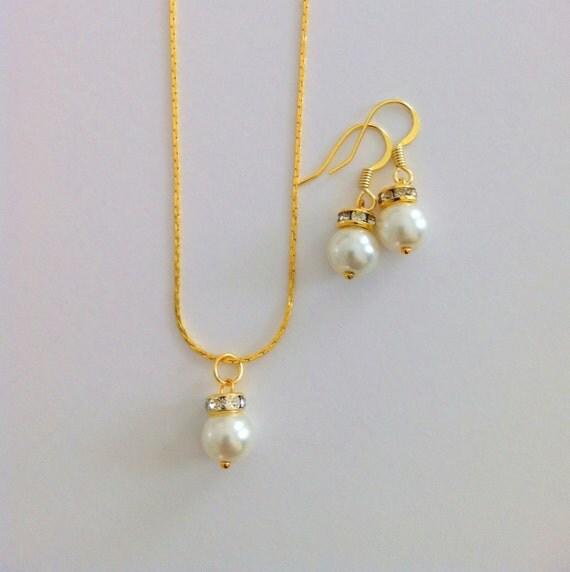 4 Simple & Elegant Bridesmaid Gift Pearl Bridesmaid Jewelry Gifts - Set of 4 Bridesmaid Jewelry Sets, Necklace and Earrings, Wedding Jewelry