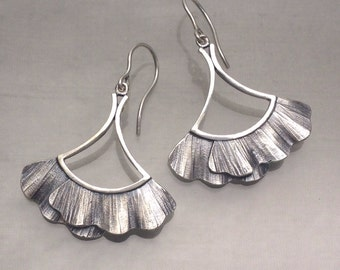 Large Ruffle Drop Earrings Sterling Silver