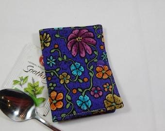 Flower Power Tea Wallet, Tea Bag Wallet, Purple Tea Wallet, Handmade Tea Wallet, Made in USA