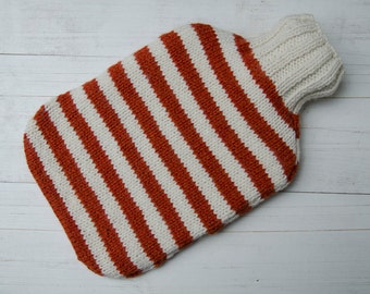 Knitted Hot water bottle Cover Orange and Cream Stripes wool and alpaca