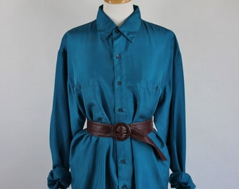SALE - Vintage 80s Womens Teal Blue Silk Oversized Shirt Blouse