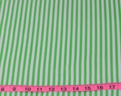 """Bright Green and white stripe Cotton Fabric For Cute Dresses and Many Sewing Projects  44"""" wide"""