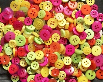 200 Button  Small Button Mix, Fiesta Mix, Lime Green, Orange, Yellow, Pink Buttons, Sewing  Grab Bag  Crafting  Jewelry  (b1339)