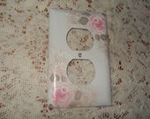 Shabby Cottage Chic Hand Painted Pale Rose Electrical Outlet Cover