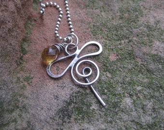 Sterling Silver Honey Bee Necklace with Citrine Drop of Honey