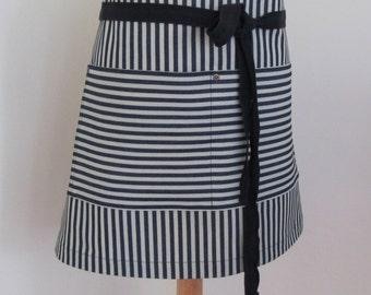 Half Apron Denim Woman Indigo Stripes Navy Stripes Craft Cook Server