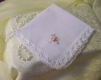 Monogrammed Handkerchief, Hanky, Hankie, Personalized, Embroidered, Custom, Hand Crochet, Ladies, Lace, Women's, Ready to ship, Bridal Party