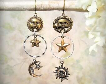 Skydance Asymmetrical Earrings, Sun Moon Star Celestial Earrings, Cosmic Mixed Metals, Mismatch Festival Jewelry, Sterling Silver Boho Beach