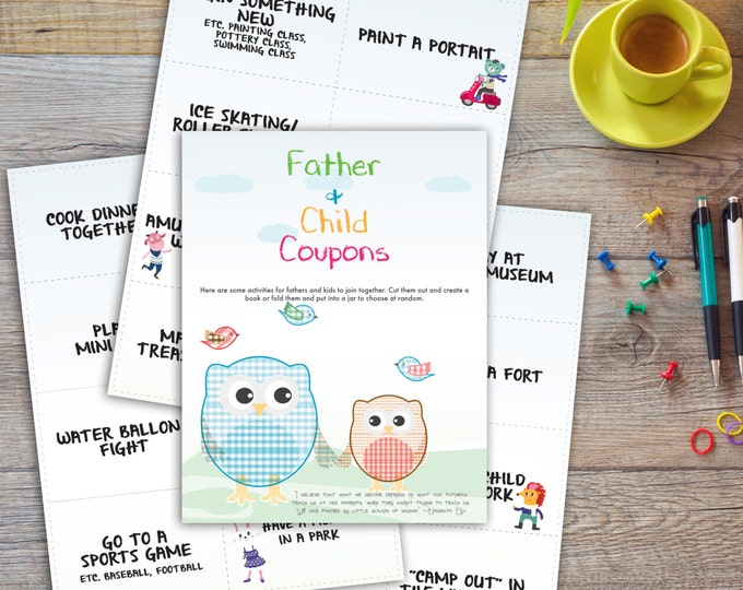 Father Kids Coupons | 24 different cards | Printable | Instant download | Fathers day