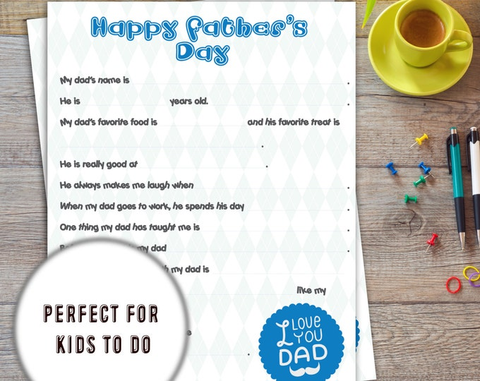 Fill in | Fathers day Printable for Kids | Instant download | Fathers day