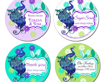 Stylized Peacock Round Glossy Stickers Labels Stickers For Weddings Thank you Product Labels Address Labels - 2 Inch or 2.5 Inch or 3 Inch