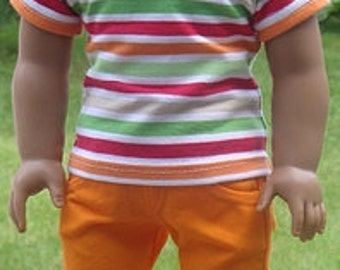 Striped T-Shirt And Orange Capris For American Girl Or Similar 18-Inch Dolls