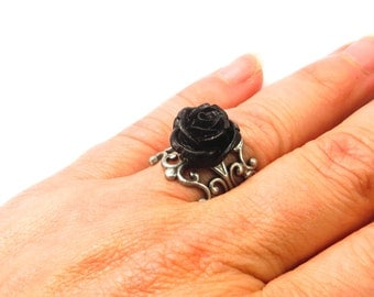 Black Rose Ring- Antique Silver Adjustable Ring- Small Rose
