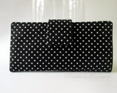 Handmade women wallet - Black with white dots - Custom order - Clutch purse - Classic black and white