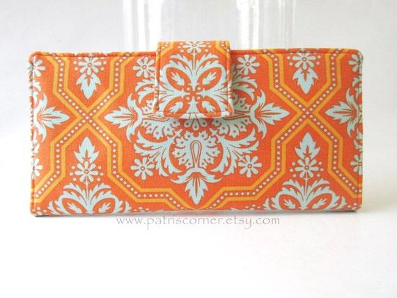 Handmade women wallet clutch - orange blue aqua floral mosaic - Custom order -  floral - orange purse  - Wallet organizer - Checkbook holder