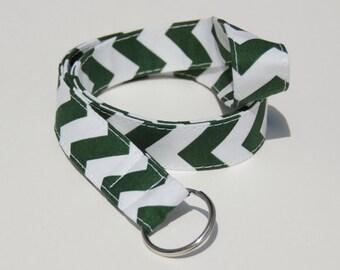 Green & White School Spirit Chevron - Lanyard ID Badge Holder - Key Strap