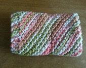 Hand Knitted Cotton Dischcloth - Variegated Orange