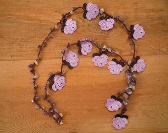 lilac rose necklace, crochet amethyst