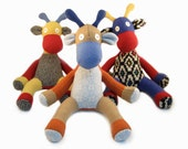 Stuffed Animal - Giraffe - Surprise Me - Reclaimed Materials - One of a Kind - Gift Item