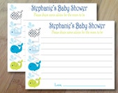 Whales and Ocean, Baby Wishes Baby Shower Cards, Professionally Printed Set of 12, Baby Shower Game