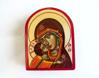 Virgin Mary and Christ child, Keepsake Miniature Icon, Eleusa Icon, Motherhood painting, Orthodox Style Icon