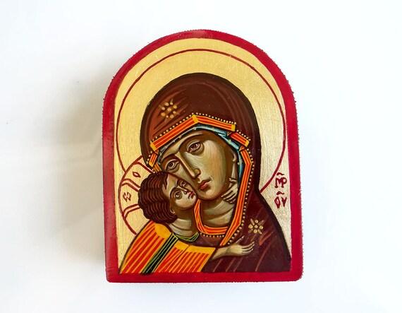 Virgin Mary and Christ child, Keepsake Miniature Icon, Eleusa Icon, Motherhood painting, Orthodox Style Icon