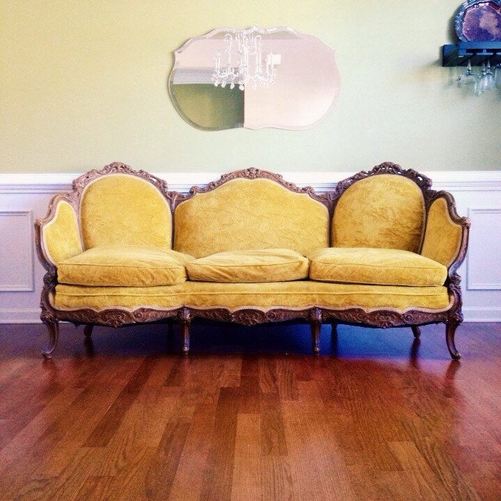 Victorian Couch: Vintage Sofa Antique Victorian Sofa Yellow Velvet By