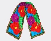 Vintage 90s SILK Floral Scarf / Oblong Multicolored Scarf