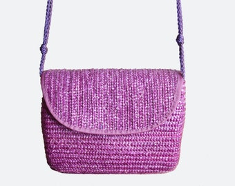 Vintage 90s Woven Straw PURSE / 1990s Purple Straw Shoulder Bag