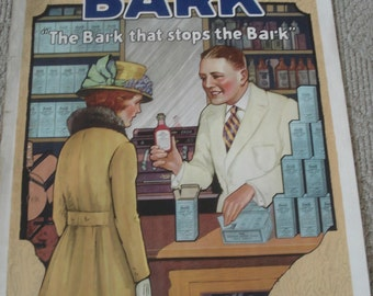 Antique Pharmacy Poster, 1920's Rexall Pharmacy Lithograph Poster, Antique Apothecary,  Vintage Pharmacy Advertising