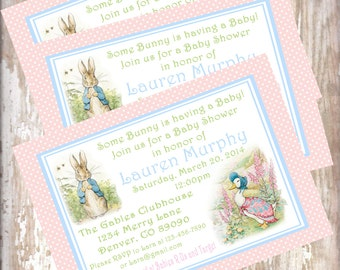 Peter Rabbit Baby Shower Invitations Beatrix  PotterPrintable PDF bunny  Easter 1st birthday party decorations baby shower birthday
