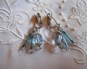 Vintage Blue Glass Dangling Beaded Clip On Earrings from Japan
