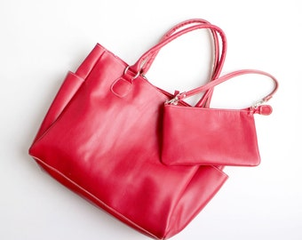 Leather Tote Bag / Handbag / with Samll Pouch - Red