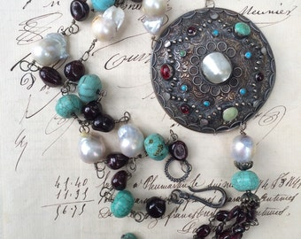 EXOTIC - Interesting Austro Hungarian Pendant with Pearls, Turquoise and Garnets