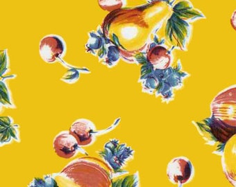 Pears and Apples on Yellow Oilcloth, Yardage
